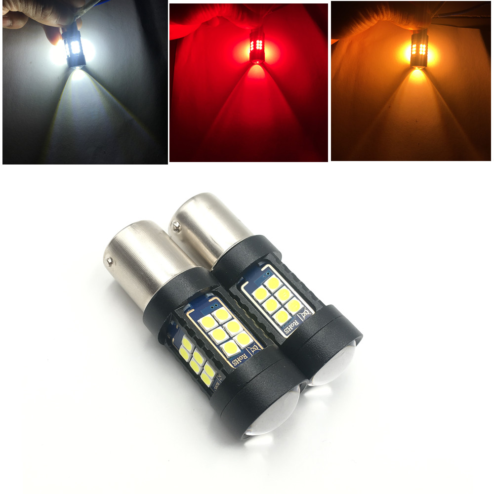 27SMD S25 LED 1157 BAY15D BAY 15D P21/5W 1156 BA15S P21W Car LED Bulb White/Yellow/Amber/Red Color