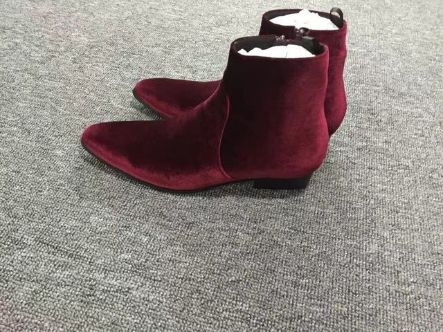 Fashion Wine Red Velvet Mens Boot Flats Shoes Ankle Booties Pointed toe Zipper Short Chelsea Boot Spring Fall Zip Moto Booties