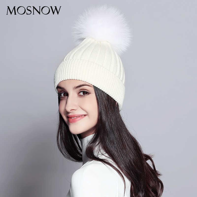 c33683959 MOSNOW Winter Hat Female Striped Black Red Fashion Knitted Wool Hats Fox  Fur Pom Poms New 2018 High Quality Caps Bonnet #MZ732