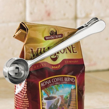 1 pcs Multifunctional Stainless Steel Coffee Measuring Scoop With Bag Clip Sealing Tea Measuring coffee spoon clip Kitchen Tools