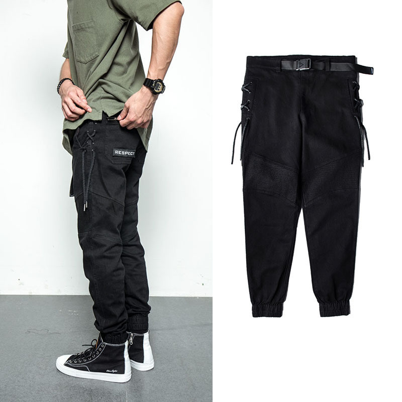 2018 Men Pants High Street Fashion Hip Hop Elastic Waist Casual Cargo Pants Male Loose Harem Pants Jogger Trousers Sweatpants