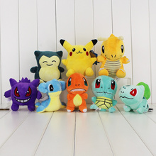 8Pcs Lot Anime Snorlax Gengar Squirtle Dragonite Charmander Bulbasaur Lapras Plush Dolls Toys Stuffed Soft Gift
