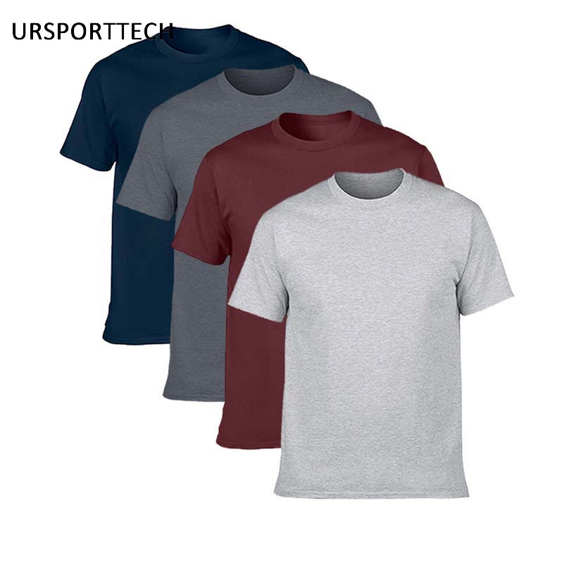 Buy Two Get Two Cotton Men's T-shirts Classical 2017 Short Sleeve O-neck Tshirt Solid Color Summer Loose Basic T-shirts For Men