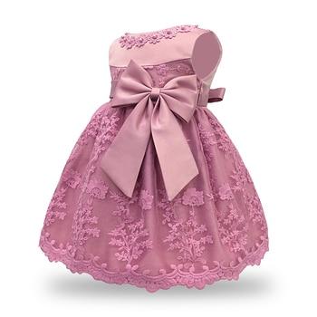 df9f9d3ec Vestido de bebé de encaje flor vestido de bautizo ropa de bautismo niños recién  nacidos niñas Primer Año cumpleaños princesa Infante fiesta disfraz