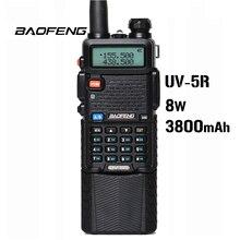 Baofeng UV 5R 8 w 3800 mah bateria walkie talkie 128 banda dupla rádio em dois sentidos uhf & vhf 136 174 mhz & 400 520 mhz ham rádio transceptor