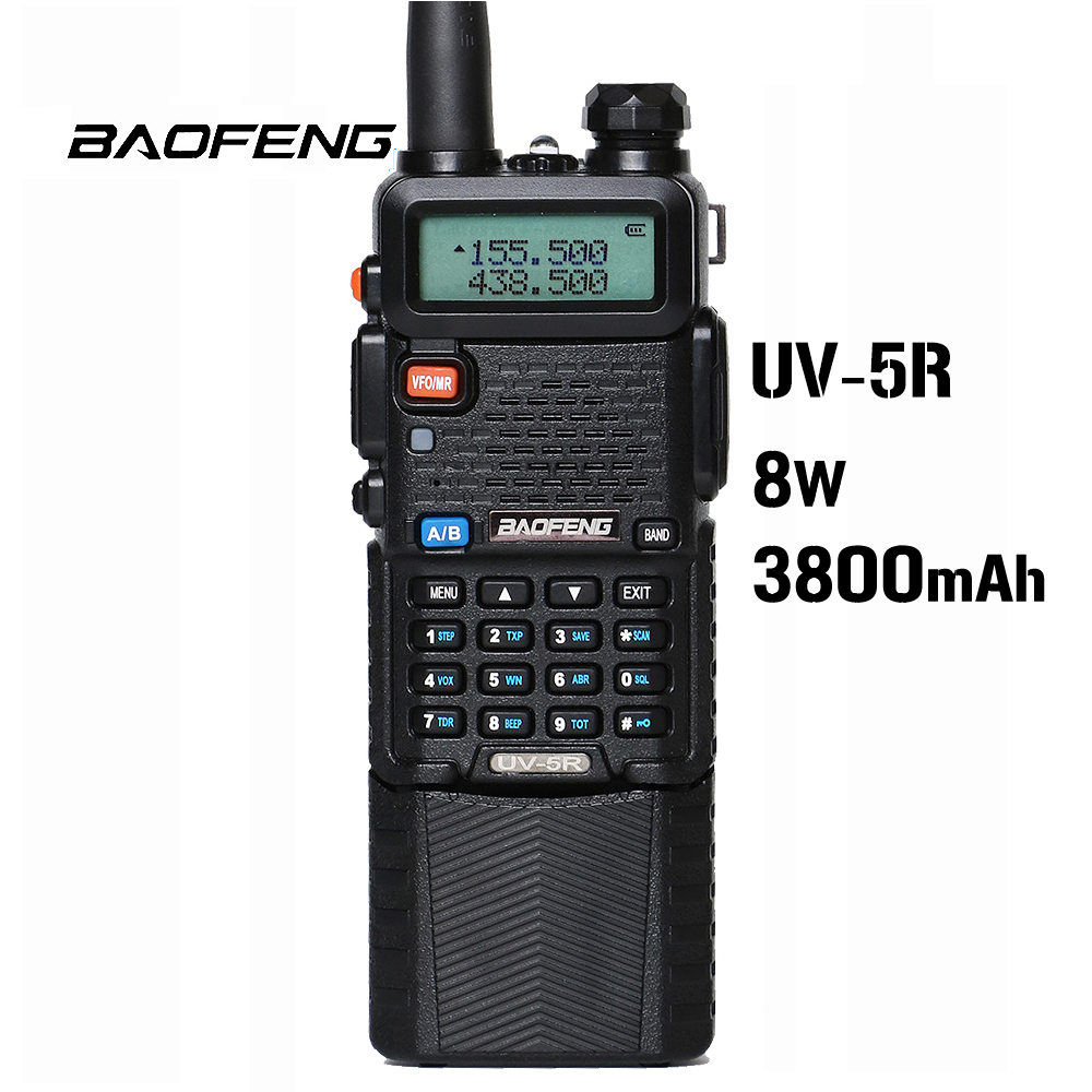 Baofeng UV 5R 8W 3800mAh Battery Walkie Talkie 128 Dual Band Two Way Radio UHF&VHF 136 174MHz&400 520MHz  Ham Radio Transceiver-in Walkie Talkie from Cellphones & Telecommunications