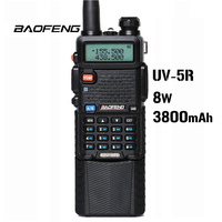 "vhf uhf Baofeng UV-5R 8W 3800mAh סוללה מכשיר הקשר 128 שני Band Dual Way רדיו UHF & VHF 136-174MHz & 400-520MHz Ham Radio מקמ""ש (1)"