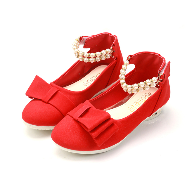 2018 New Girls Shoes Party For Kids Red Shoes Girl Princess Dress Shoes Fashion Beads Wedges  Wedding Pink Children School Shoe