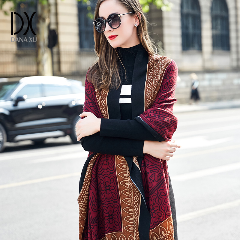 2019 européenne automne hiver femmes mode couverture écharpe femme cachemire Pashmina laine écharpe châle chaud épais écharpes Cape enveloppes
