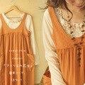 Весна Осень Мило Каваи Японский Стиль Ручной Аппликации Рубашки Основные Orange Карманы Мори Девушка Танк Dress Женщин A054