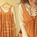 Spring Autumn Cute Kawaii Japanese Style Handmade Appliques Basic Shirt Orange Pockets Mori Girl Tank Dress Women A054