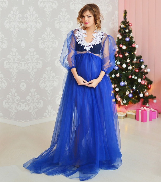 5e5d2eacb940a New Maternity Long Tulle Dresses Embroidery Lace Pregnancy Summer Dress  Maxi Gown For Shooting Robe Maternite