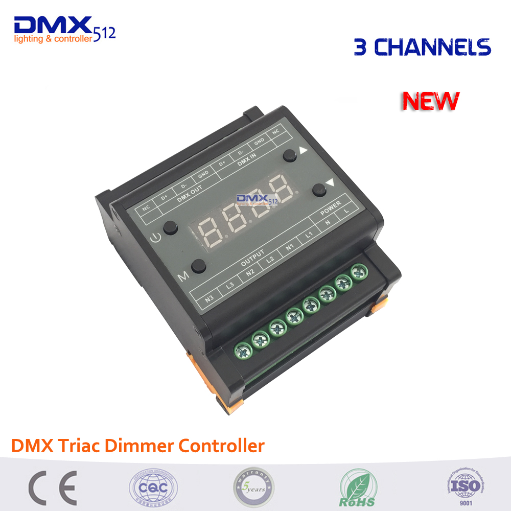 Dhl free shipping 5PCS DMX302 DMX triac dimmer led brightness controller Trailing edge 3CH x1A/CH for LED strip LED panel light 24ch easy dmx512 dmx decoder led dimmer controller dc5v 24v each ch max 3a 8 groups rgb controller iron case