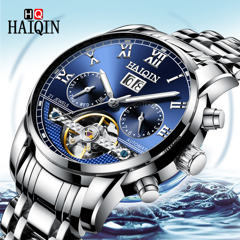 2019 Top marque de luxe HAIQIN hommes montres mécanique montre homme horloge automatique montre hommes étanche Tourbillon Relogio Masculino