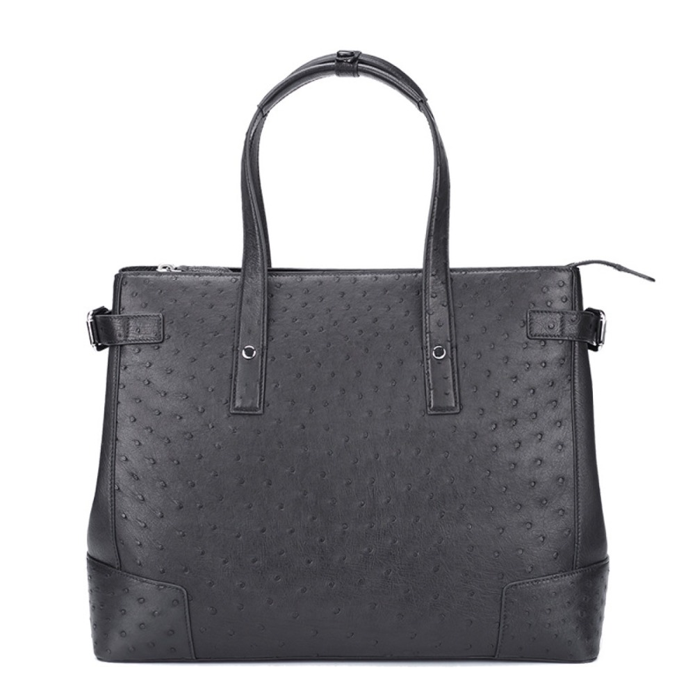 Business Style Authentic Ostrich Skin Male Top-handle Totes Handbag Genuine Leather Men's Large Laptop Briefcase Working Purse