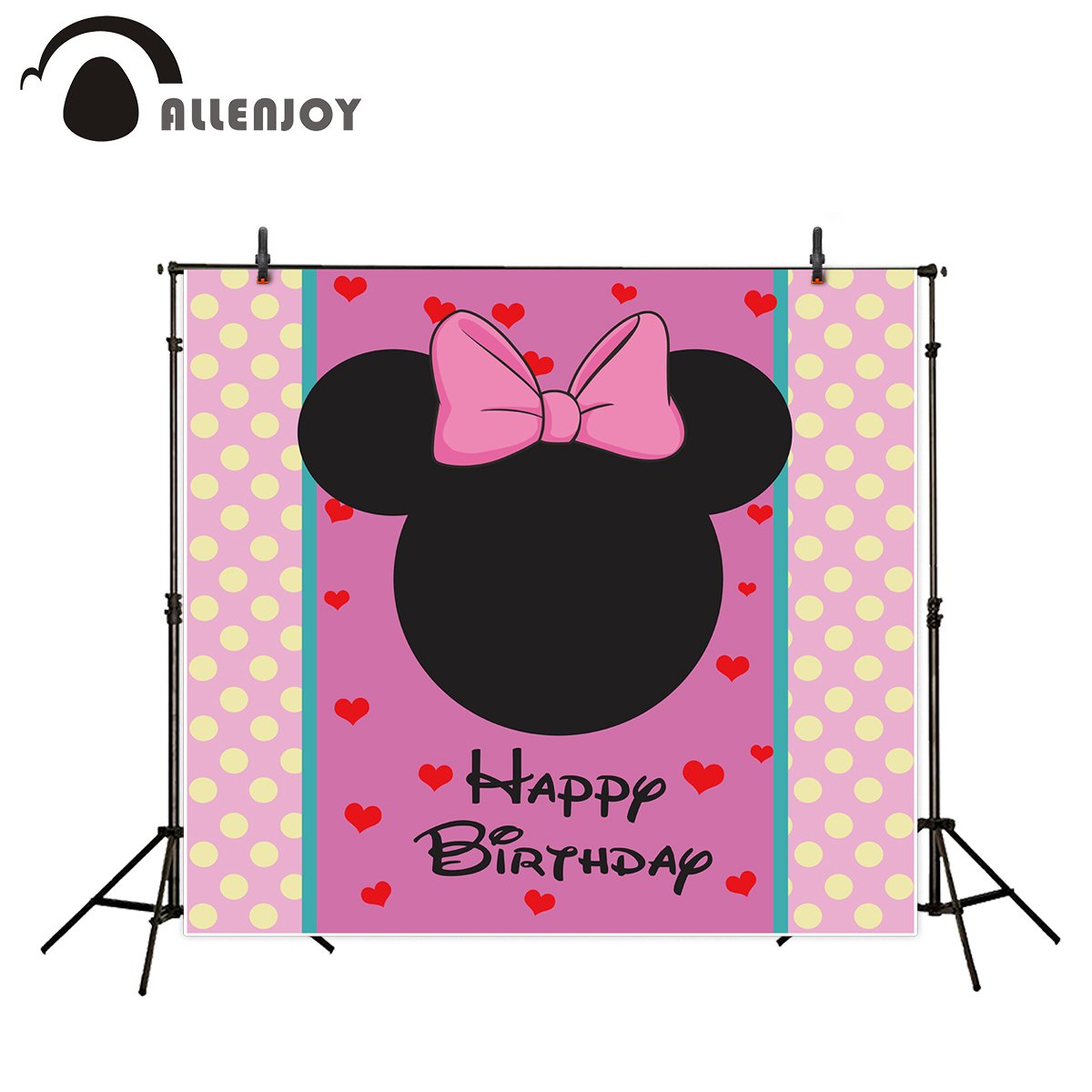 Allenjoy vinyl backdrop for photography Yellow spot pink love mouse birthday pretty backdrop for girl custom 300*200cm 8x10ft valentine s day photography pink love heart shape adult portrait backdrop d 7324