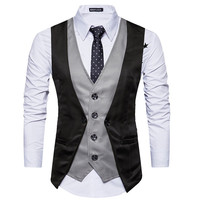 YFFUSHI 2018 Latest Design Men Vest Fashion Patchwork Vest Single Breasted Casual Style Slim Fit Wedding
