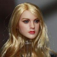 1/6 Skala Blond Włosów Europejskich i Amerykańskich Kobiet KT007 Głowy Sculpts Klocki Dla 12