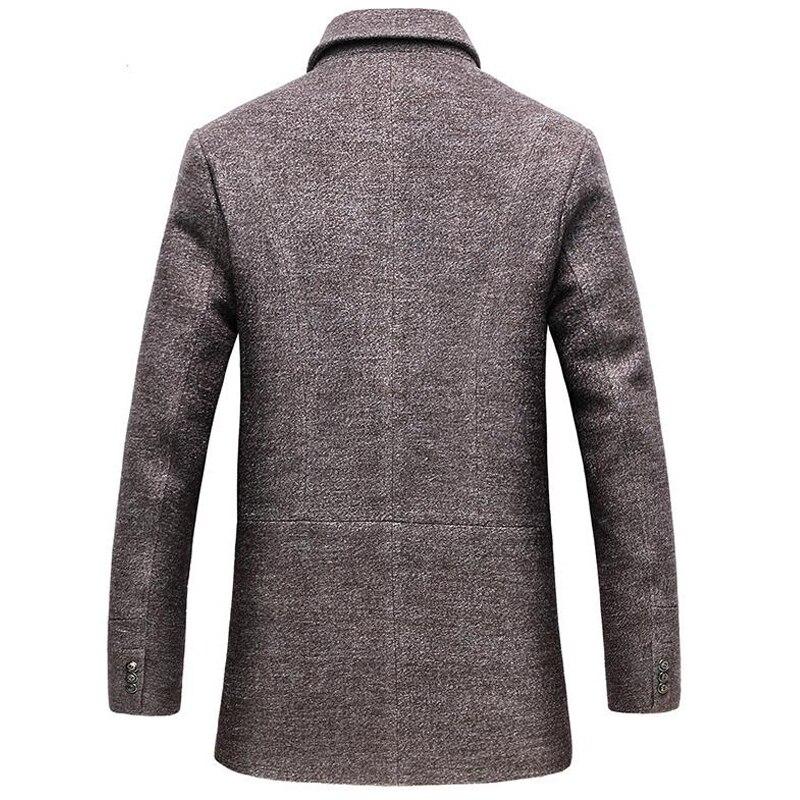 Erkek Kıyafeti'ten Yün ve Karışımları'de Yün ceket erkekler kış kalın rüzgarlık ayrılabilir eşarp palto abrigo hombre erkek casual uzun ceket iş trençkotlar'da  Grup 2