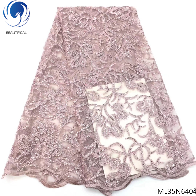 Beautifical african net laces fabrics with beads 2019 new design tulle lace fabrics with sequins for women 5yards lot ML35N64 in Lace from Home Garden