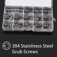 260Pcs M3 M4 M5 M6 304 Stainless Steel Metric Thread Grub Screws Flat Point Hexagon Socket