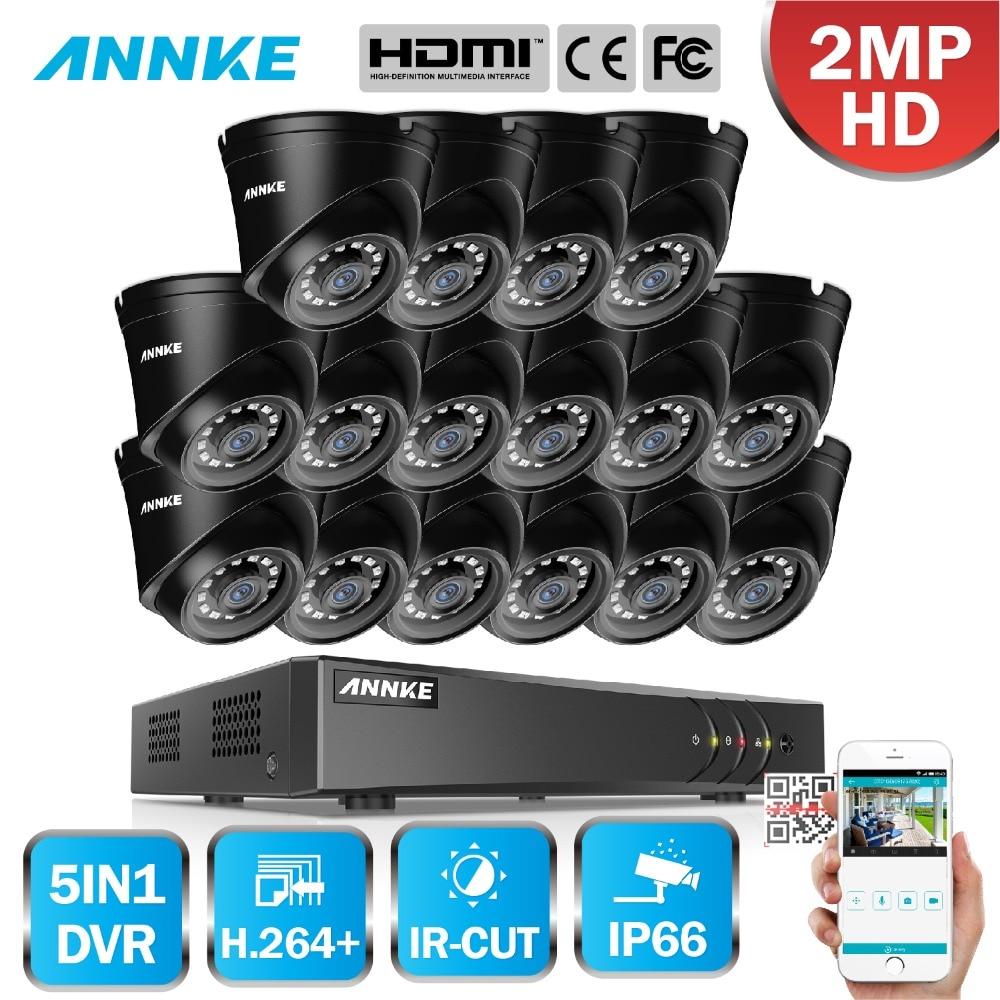 ANNKE 1080P 16CH CCTV Camera DVR System 16pcs Waterproof 2 0MP HD TVI Dome Cameras Home