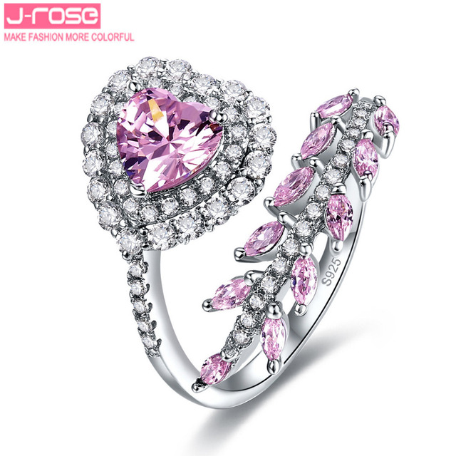 Jrose 2.14ct Fine Jewelry Women Heart Style Pink CZ 100% 925 Sterling Silver Ring Engagement Rings Size 6 7 8 9 Free Shipping