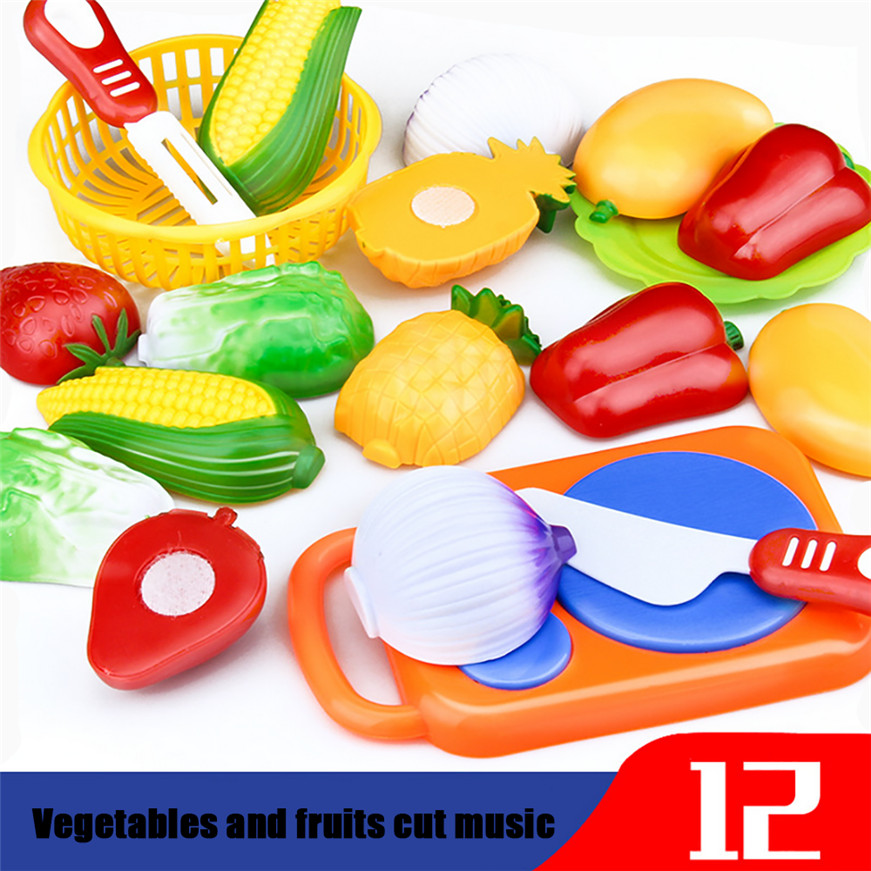 2017 A# Dropshipping 12pc Cutting Fruit Vegetable Pretend Play Children Kid Educational Toy #2