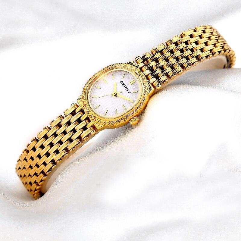 모든 경우에 매우 매력적인 여성 캐주얼 쿼츠 시계 아날로그 손목 시계 여성 시계 reloj 골드 컬러 berny-에서여성용 시계부터 시계 의  그룹 2