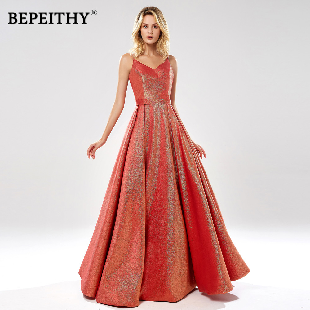 BEPEITHY New Collection V Neck Long Evening Dress Party Elegant 2020 Robe De Soiree Sexy Open Back Glitter Red Prom Dresses
