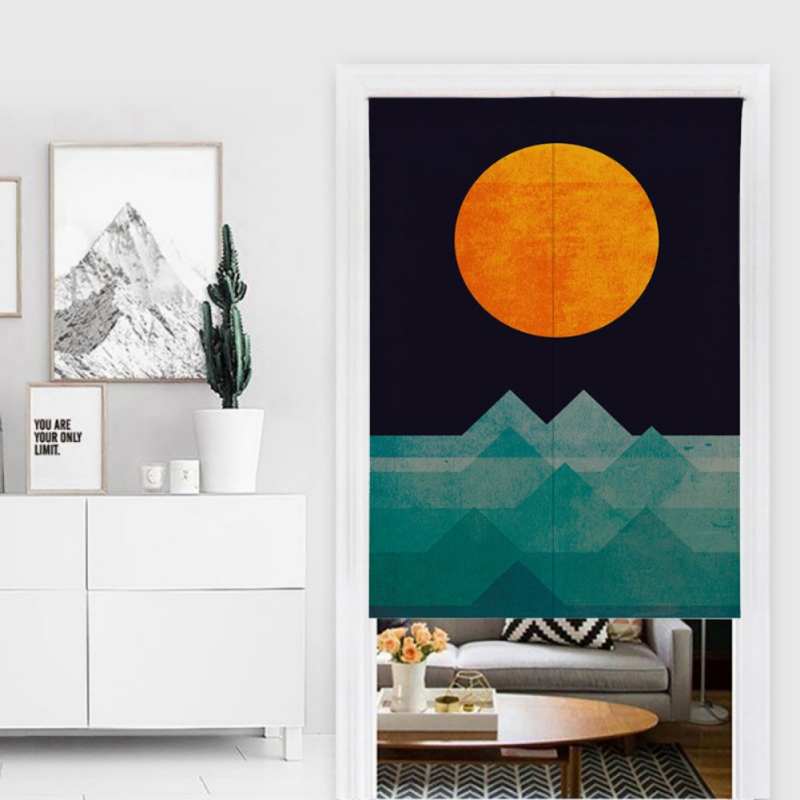 Special Sun Design Pattern Japanese Style Noren Doorway Curtain Cotton And Linen Printed Hanging Tapestry For Home Decoration