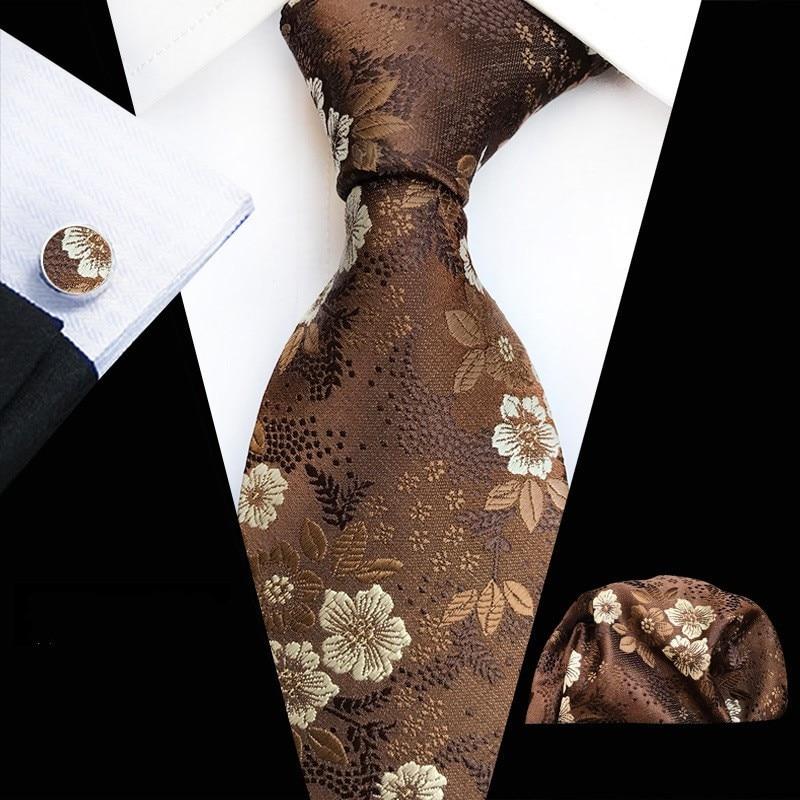 Brown Silk Tie Hanky Cuflinks Novelty Mens Ties Set Jacquard Silk Tie Narrow Bussiness Black Necktie Wedding Drop Shipping