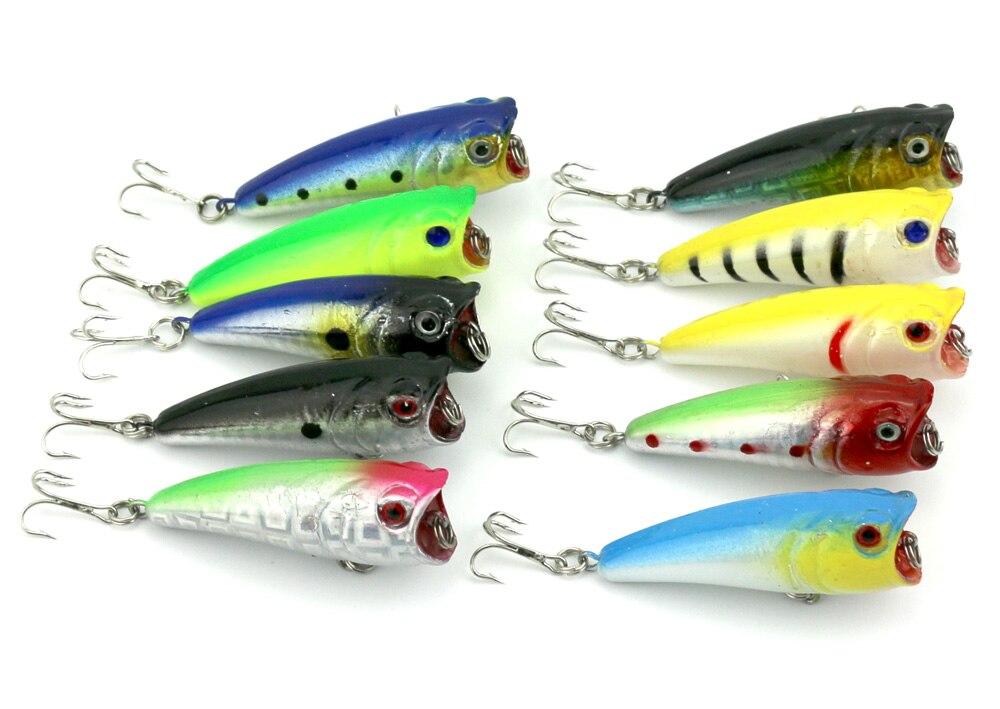 100ピースisca人工餌ポッパー釣りルアー6センチ/7グラム魚トップウォーターハード餌釣りタックルワブラーフローティングクランクベイト  グループ上の スポーツ & エンターテイメント からの 釣りルアー の中 1