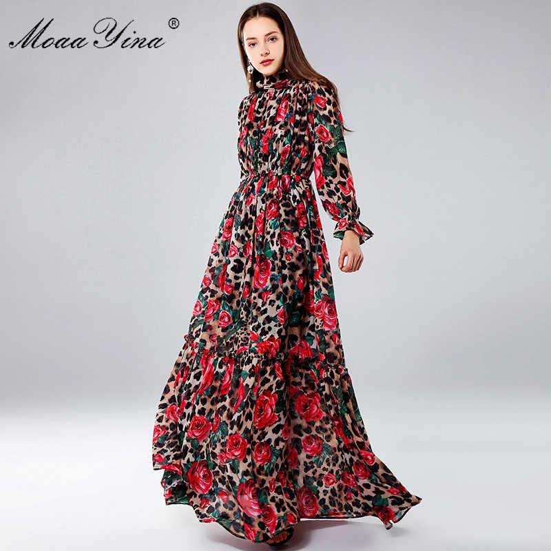 Moaayina Fashion Designer Maxi Dresses Women S Long Sleeve Sexy Leopard Print Rose Floral Elegant Long Dress Party Holiday Dress Aliexpress