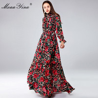 MoaaYina Fashion Designer Maxi Dresses Women's Long Sleeve Sexy Leopard print Rose Floral Elegant Long Dress Party Holiday Dress