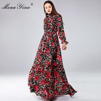 b41dc246b MoaaYina diseñador de moda vestidos Maxi de manga larga de las mujeres Sexy  estampado de leopardo Rosa Floral elegante vestido largo vestido de fiesta  ...