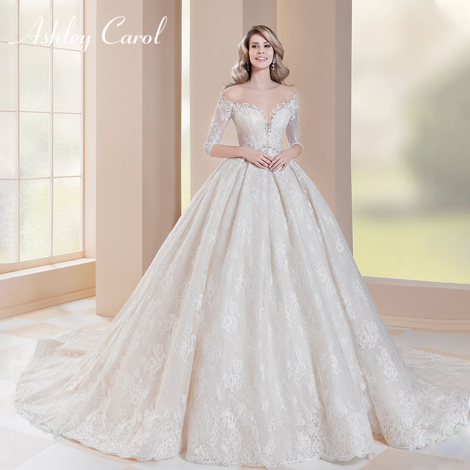 fd65548fe8 Ashley Carol Sexy Sweetheart Half Beaded Lace Ball Gown Wedding Dress 2019  Chapel Train Princess Wedding Gowns Vestido De Noiva ~ Perfect Deal July  2019
