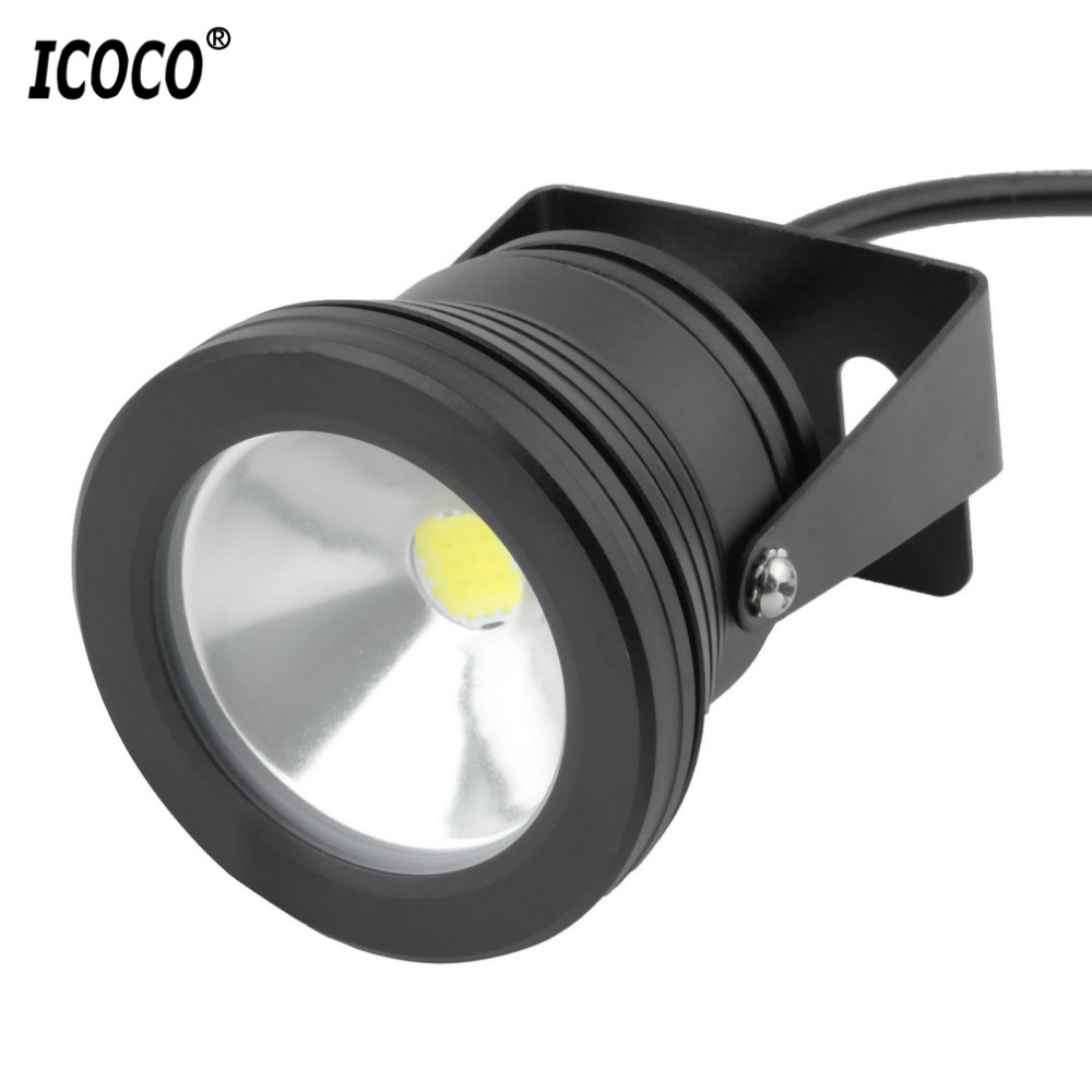 ICOCO 10W LED Swimming Pool Light Underwater Waterproof Lights Spot Lamp 12V Outdoor Flood Light IP68 for Pond Aquarium