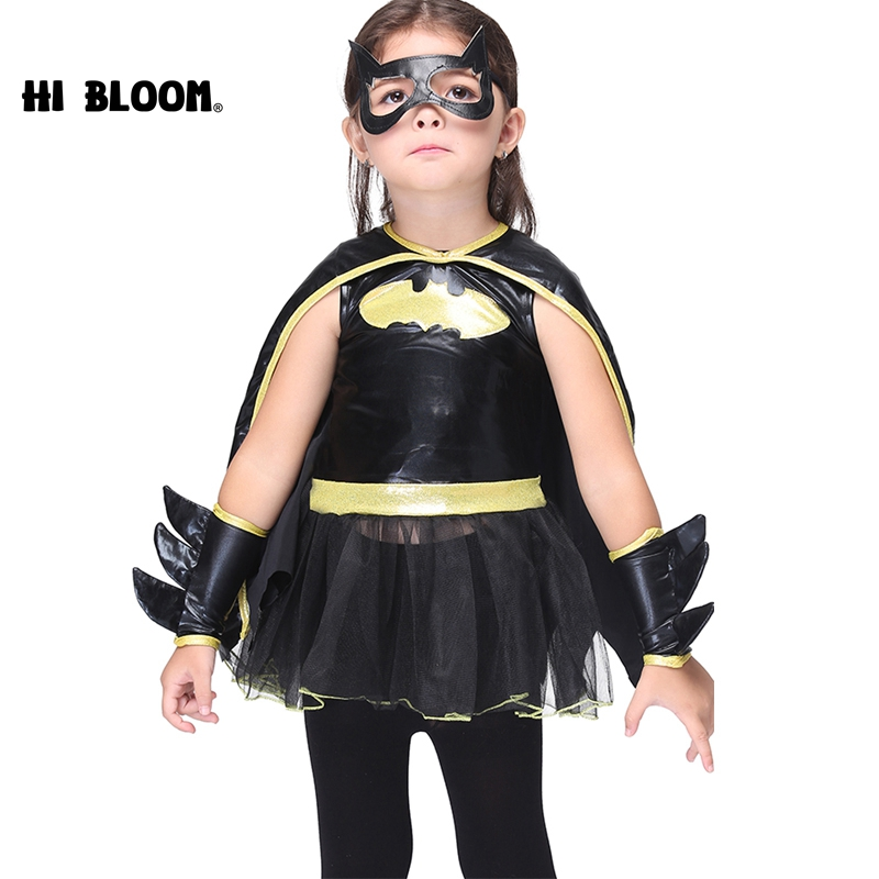 4pcs Children Halloween Batman Cosplay Costume Black Dress+Cloak+Mask+Gloves Set Party Girls Superhero Bat Girl Cosplay Clothes captain america civil war hawkeye clinton cosplay costume francis barton csosplay costume superhero halloween party custom made