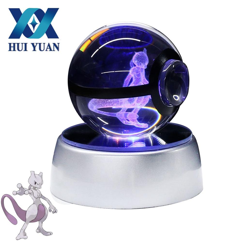 HUI YUAN Pokemon Crystal Ball Mewtwo 5CM 3D Laser Go Crystal Ball LED Night Light Magic Ball for Children Christmas Gifts майка print bar mewtwo pokemon