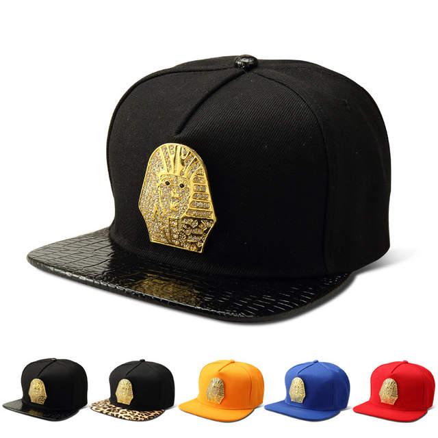 placeholder Women Men Bling Golden Rhinestone Egyptian Pharaoh Snapback Hats  Last King LK Baseball Caps Gorras sports 9579bb94f2d3