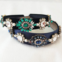New Arrival Unique Designs Baroque Blue Crystal Crown Headpieces Princess Wedding Dress Handmade Beads Hair Accessories