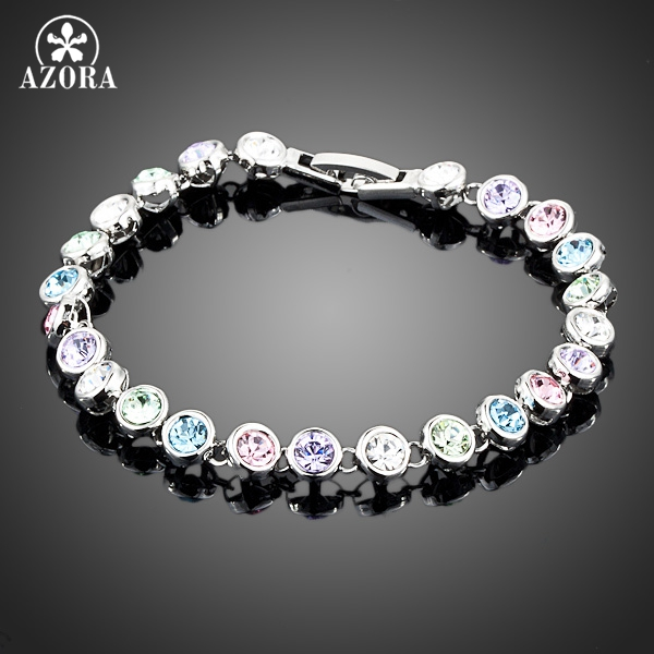 AZORA White Gold Color Stellux Austrian Crystal Multicolour Round End to End Bracelet TS0005