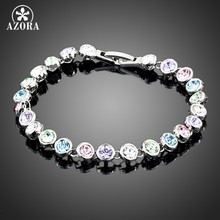 AZORA White Gold Color Stellux Austrian Crystal Multicolour Round End to End Bracelet TS0005(China)