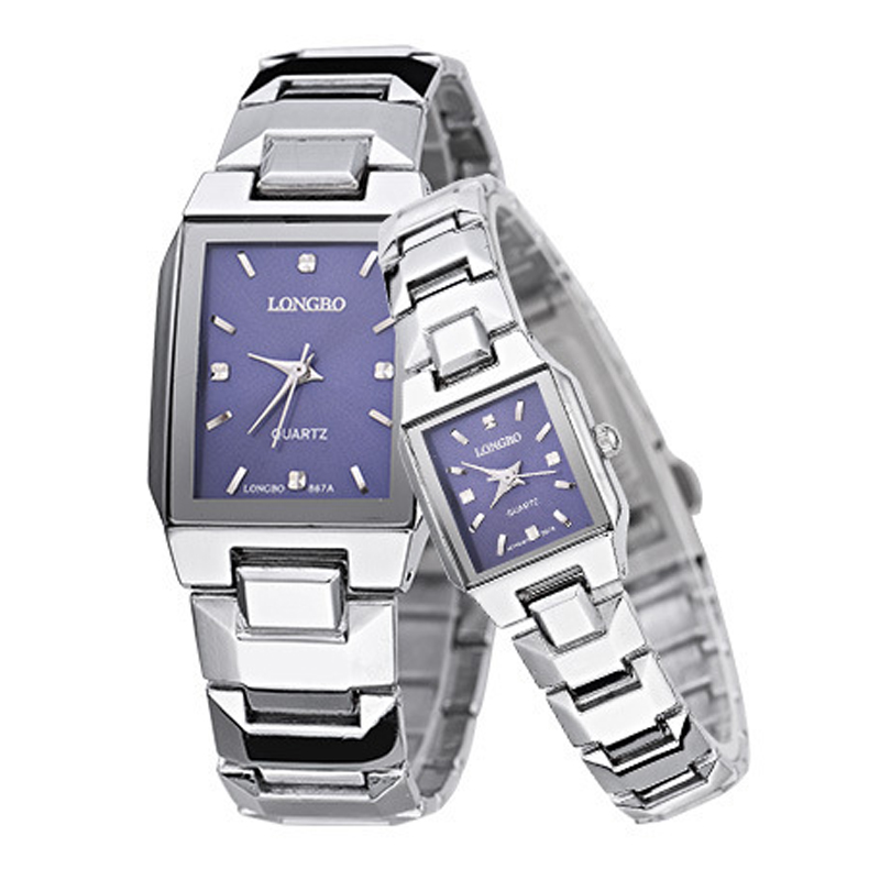 LONGBO Brand Casual Square Case Stainless Steel Band Business Couples Watch Quartz Analog Watches Women Men