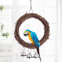 Wooden Parrot Toy Bird Stand Playing Rack Swing Wood Ring For Birds Hanging Toys With Bells Accessories Supplies