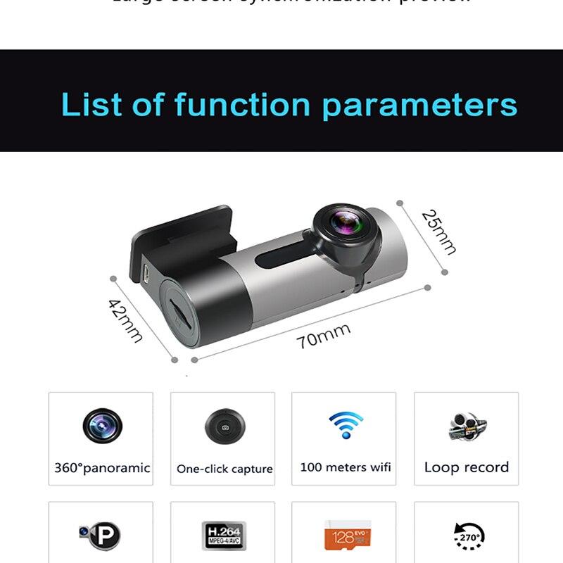 Caméra AZGIANT DVR 360 degrés Rotation Panorama techygraphe Wifi voiture DVR oeil de poisson lentille boucle enregistrement HD Vision nocturne caméscope - 6