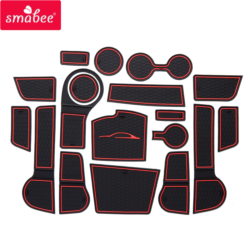 Smabee Gate Slot Mat For For Kia Rio 4   X-Line RIO 2017 2018 2019 Interior Door Pad/Cup Non-slip Mats Red/white/orange 18pcs