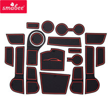 smabee Gate slot mat For For Kia Rio 4 X-Line RIO 2017 2018 2019 Interior Door Pad/Cup Non-slip mats red/white/orange 18pcs(China)