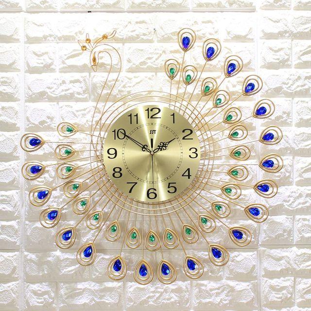 3D Große Pfau Wanduhr Modern Design Home Decor Wall Uhren Wohnzimmer 40  Stücke Diamanten Dekorativen Schmiedeeisen